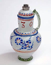 Large jug with tin-glazed decoration made by Habans, 1630, Transylvania