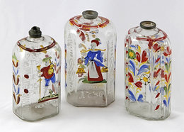 Three enamelled cellar flasks from the late 18th century