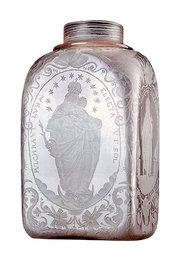 Richly engraved cellar flask from 1666